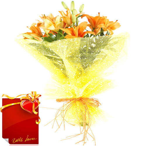 bunch of 6 orange asiatic lillies bouquet with Card