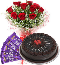 Half Kg Chocolate Cake Red Roses Bouquet n Chocolate