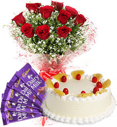 Pineapple Cake Half Kg Red Roses Bouquet n Chocolate