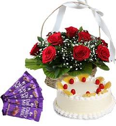 Half Kg Pineapple Cake Red Roses Basket n Chocolate
