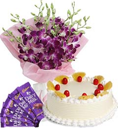 Pineapple Cake Half Kg Orchids Bouquet n Chocolate