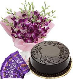 Chocolate Cake Half Kg Orchids Bouquet n Chocolate