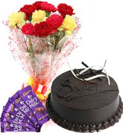 Chocolate Cake Half Kg Carnations Bouquet n Chocolate