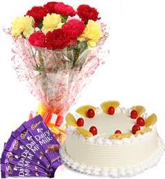Pineapple Cake Half Kg Carnations Bouquet n Chocolate