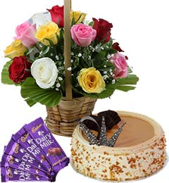 1Kg Butterscotch Cake Mix Roses Basket n Chocolate