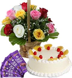1Kg Pineapple Cake Mix Roses Basket n Chocolate