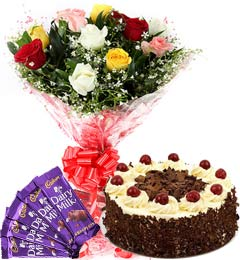 1Kg Black Forest Cake Mix Roses Bouquet n Chocolate
