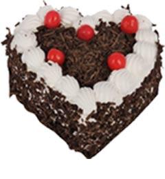 1Kg Heart Shape Black Forest Cake