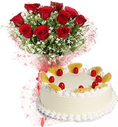 Eggless Pineapple Cake N Red Roses Bouquet