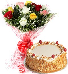 1Kg Eggless Butterscotch Cake N Mix Roses Bouquet