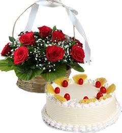 1Kg Eggless Pineapple Cake N Red Roses Basket