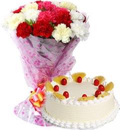 Eggless Pineapple Cake Half Kg N Carnations Bouquet