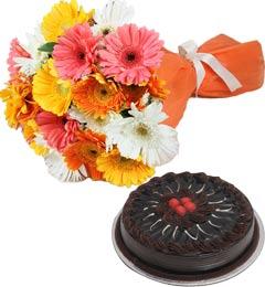 Eggless Chocolate Truffle Cake Half Kg N Gerberas Bouquet
