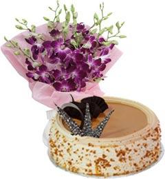 Eggless Butterscotch Cake Half Kg N Orchids Bouquet
