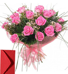 15 Pink Roses Bouquet