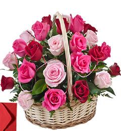 20 Red Pink Roses Basket Gift