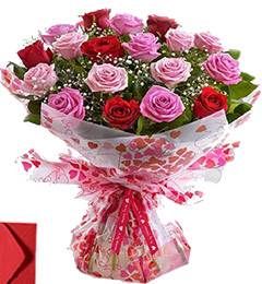 15 Red Pink Roses Gift