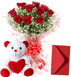 10 Red Roses Bouquet n Cute Teddy
