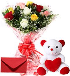 10 Mix Roses Bouquet N Cute Teddy