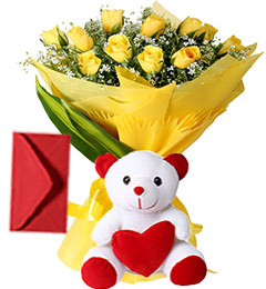 10 Yellow Roses Bouquet N Cute Teddy