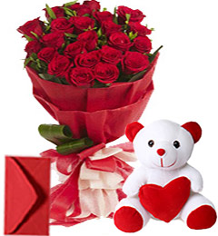 20 Red Roses Bouquet n Teddy