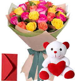20 Mix Roses Bouquet n Teddy