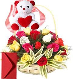 15 Red Roses Basket n Teddy