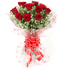 10 Red Roses Flower Bouquet