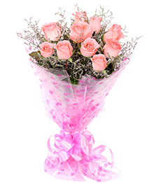 10 Pink Roses Flower Bouquet
