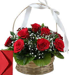 15 Red Roses Basket Gifts