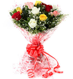 Fresh Floral Greeting Bunch Of 10 Mix Roses