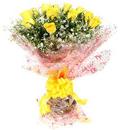 Fresh Floral Greeting Bunch Of 10 Yellow Roses