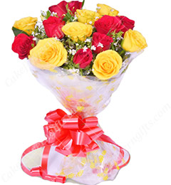 10 Red Yellow Roses Flower Bouquet