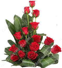 15 Red Roses Designer Basket