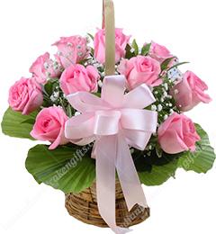 15 Pink Roses Basket Gifts