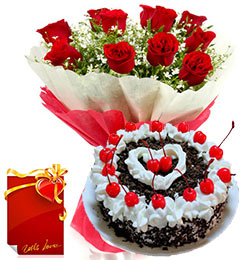 Eggless 1KG Black Forest Cake Roses bouquet Greeting Card