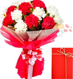 10 Red n White Carnations bouquet n Card