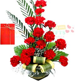 16 Red Carnations in Medium Vase