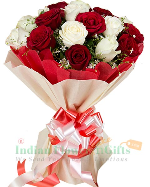 Red n White Roses Bouquet