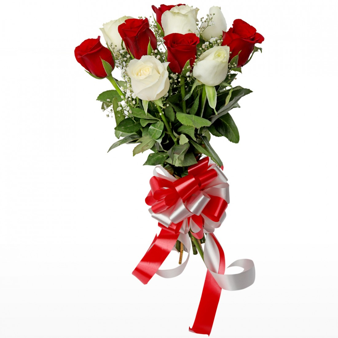 Bunch of 10 Roses - 5 Red 5 White