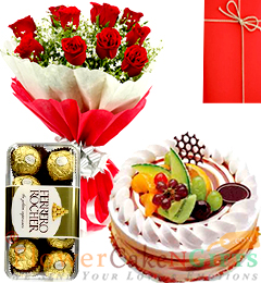 Half Kg Black fruits cake 10 Red Roses Flower Bouquet 16 Ferrero Rocher Chocolate