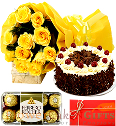 Half Kg Black Forest cake Yellow Roses Flower Bouquet Ferrero Rocher Chocolate