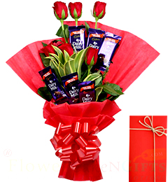 Greeting Card Rose n Chocolate Bouquet