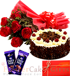 Half Kg Black Forest Cake Round Shape  Red Roses Bunch Dairy Milk Chocolate Greeting