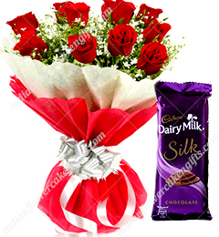 Red Roses Dairy Milk Silk Chocolates Bouquet