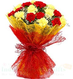 Red n Yellow Carnations Flower bouquet