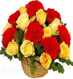 Yellow Roses Red Carnation Flower Basket