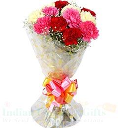10 Mix Carnations Flower Bouquet