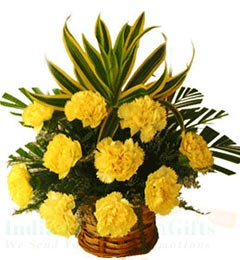 10 Yellow Carnation Flower Basket