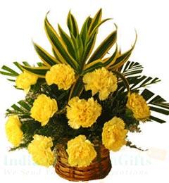 Buy send order 10 yellow carnation flower basket price online 10 yellow carnation flower basket mightylinksfo